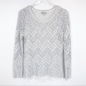 Lucky Brand white & silver crocheted sweater lined